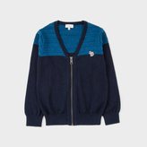 Paul Smith Boys' 2-6 Years Navy Cashmere-Blend Zebra-Logo Cardigan