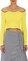 Cédric Charlier Women's Compact-Knit Off-The-Shoulder Crop Top-YELLOW, NAVY