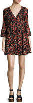 Ella Moss Alita Floral Bell-Sleeve Mini Dress, Black