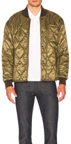 Burberry Nylon Check Lined Bomber Jacket in Green.