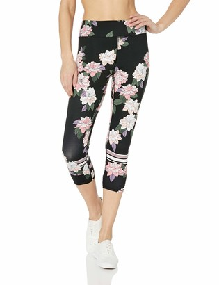 Andrew Marc Women's Floral Printed Compression Leggings with Striped Detail