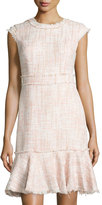 Nanette Nanette Lepore Tweed Frayed-Edge Flounce Dress, Pink-A-Chu/Credence Cream