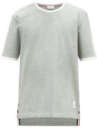 Thom Browne Step-hem Cotton T-shirt - Mens - Light Grey