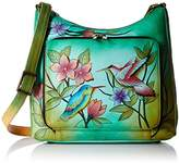 Anuschka Handpainted Leather Large Birds in Paradise Green