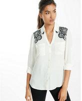 Express slim fit embroidered shoulder portofino shirt