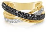 Effy Jewelry Effy Caviar 14K Yellow Gold Black and White Diamond Ring, 0.62 TCW