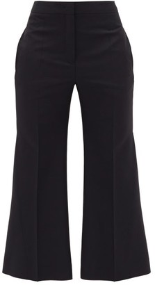 Jil Sander Flared-cuff Wool-blend Trousers - Womens - Navy