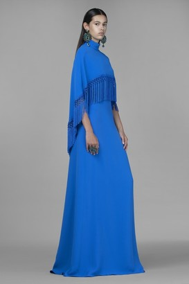 Andrew Gn Fringed Cape Crepe Gown