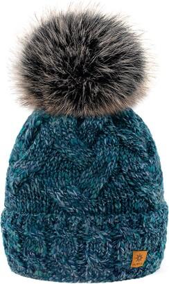 MFAZ Morefaz Ltd Women Winter Hat Alpaca Wool Beanie Hat Worm Knitted Hats Fleece Lining Pom Pom (Marina Cream)