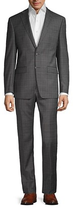 Calvin Klein Slim-Fit Plaid Wool-Blend Suit