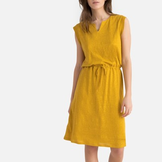 La Redoute Collections Linen Flared Tie-Waist Dress