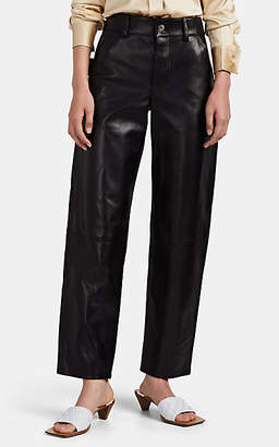 Bottega Veneta Women's Leather Wide-Leg Pants - Black