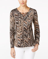 NY Collection Petite Printed Lace-Up Peasant Top