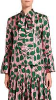 Double J Leaf-Print Silk Taffeta Blouse