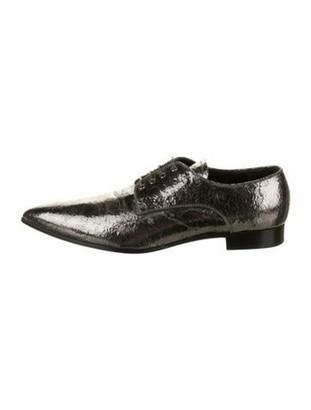 Miu Miu Patent Leather Pointed-Toe Oxfords Silver