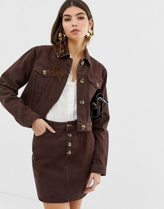 Asos Design DESIGN denim jacket with mock horn buttons in chocolate-Brown