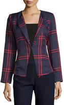 Lucy Paris Crisscross Pattern Blazer, Blue/Red