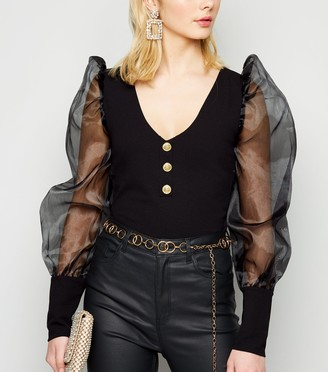 New Look Organza Puff Sleeve Button Front Bodysuit
