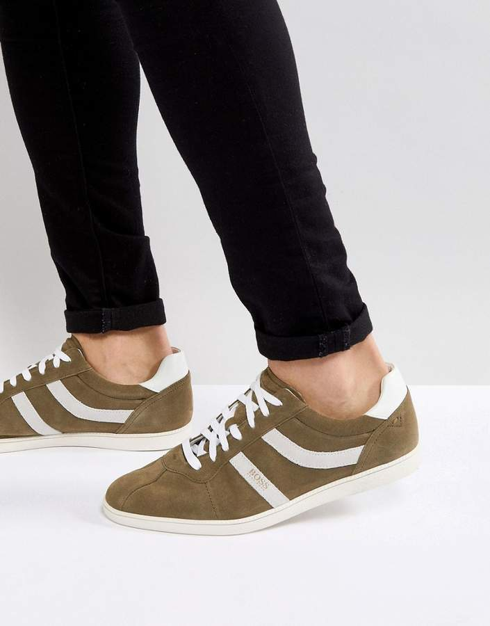 BOSS Rumba Stripe Sneakers in Khaki