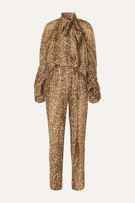 Zimmermann Espionage Leopard-print Silk Jumpsuit - Brown