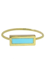 Jennifer Meyer Short Inlay Turquoise Bar Stacking Ring - Yellow Gold