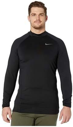 Nike Big Tall Pro Therma Top Long Sleeve Mock (Black/Black/Dark Grey) Men's Clothing