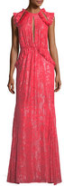 Camilla And Marc Basilia High-Neck Devoré Metallic Evening Gown