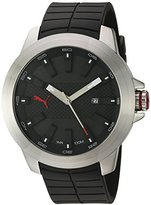 Puma Quartz Stainless Steel and Polyurethane Watch, Color:Black (Model: PU103901001)