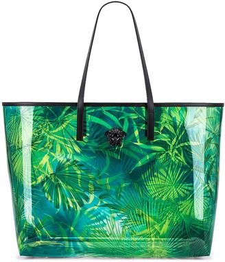 Versace Tribute Palm Tote in Green & Blue | FWRD