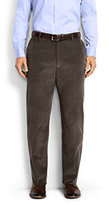 Classic Men's Traditional Fit Plain Front 18-wale Corduroy Trousers-Light Beige