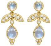 Temple St. Clair Foglia Royal Blue Moonstone and Diamond Drop Earrings in 18K Yellow Gold