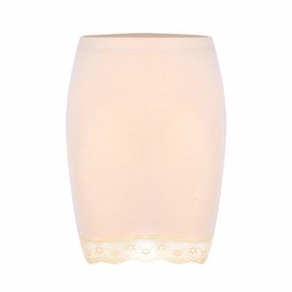 YOOJIA Women's Adjustable Waist Half Slip Short Underskirt Lace Hem Lingerie Mini Skirt Black Medium
