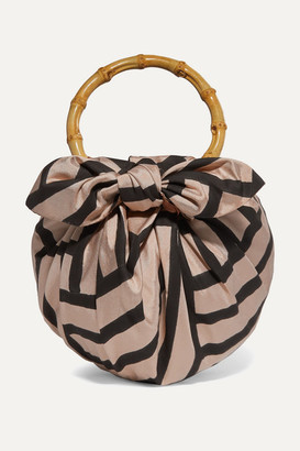 Emily Levine - Dumpling Knotted Striped Silk-blend Tote - Black