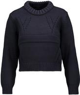 Tibi Cropped pointelle-paneled cotton-blend sweater