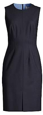 BOSS Women's Dasuria Stretch Wool-Blend Shadowcheck Sleeveless Suiting Dress