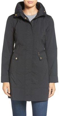 Cole Haan Back Bow Packable Hooded Raincoat (Petite)