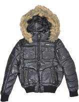 Rocawear Womens Faux Fur Trim Puffer Jacket