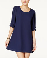 Speechless Juniors' Roll-Sleeve Shift Dress