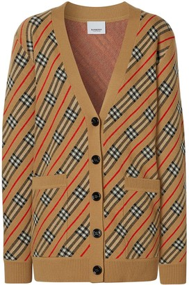 Burberry Check-Detail Striped Cardi-Coat