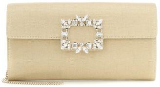 Roger Vivier Envelope linen clutch
