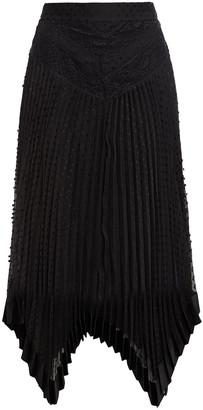 Zimmermann Espionage Asymmetric Lace-paneled Pleated Swiss-dot Chiffon Skirt