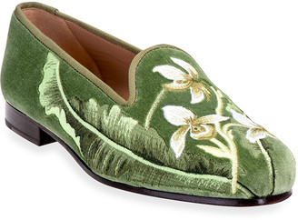 Stubbs And Wootton Fern Embroidered Velvet Smoking Slippers