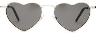 Saint Laurent Loulou Heart-shaped Metal Sunglasses - Womens - Silver Multi