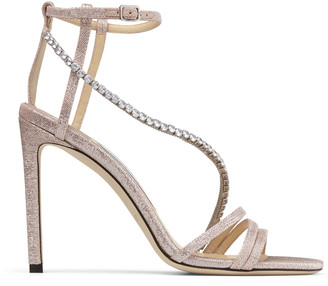 Jimmy Choo THAIA 100 Ballet Pink Gio Metallic Fabric Sandals with Crystal Chain