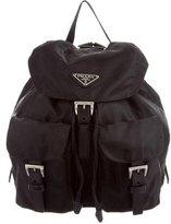 Prada Leather-Trimmed Tessuto Backpack