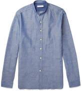 Loro Piana Grandad-Collar Linen and Cotton-Blend Chambray Shirt