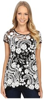Karen Kane Embroidered Lace Flare Top