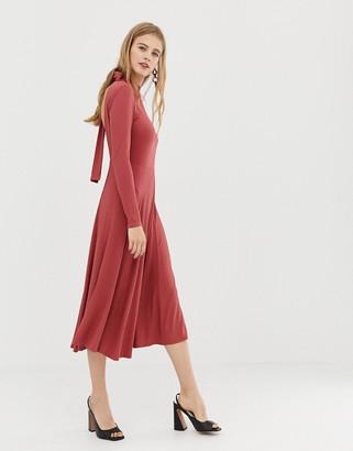 Asos Design DESIGN midi skater dress in rib with open back-Pink