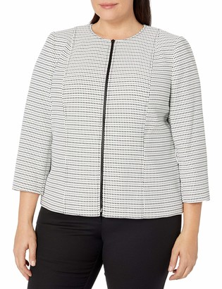 Kasper Women's Plus Size Stripe Knit Jacquard Jacket