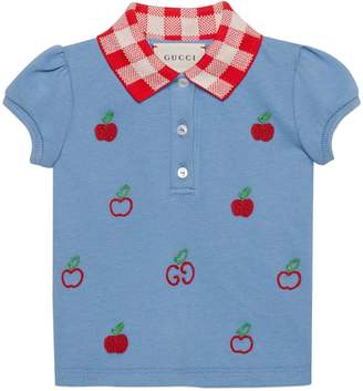 Gucci Baby cotton polo with GG apple embroidery